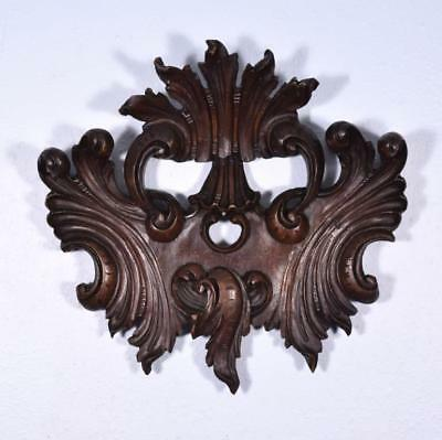 "*16"" French Louis XV Deeply Carved Antique Pediment/Crest in Walnut Wood"