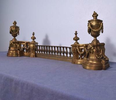 *Large Gilt Antique French Louis XVI Bronze Chenet Andirons Fireplace Set