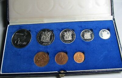 South Africa 1977 Proof 8 Coin Proof Set (Silver 1 Rand) Original Box