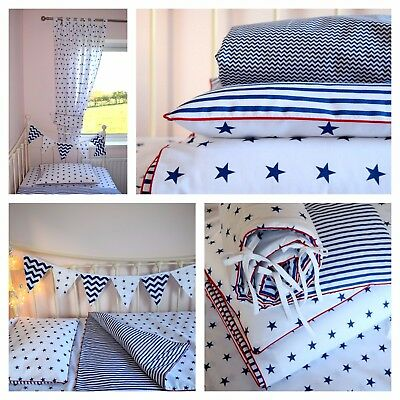 Cot  bed Bedding Duvet Covers Baby Boy Navy Stars Stripes Bunting Bumper cotton