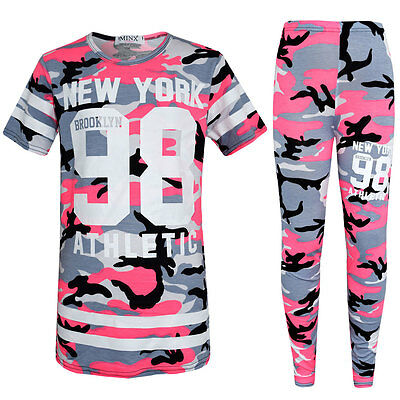 Girls Kids New Pink Camouflage Print Top Leggings Set 7 8 9 10 11 12 13 Years