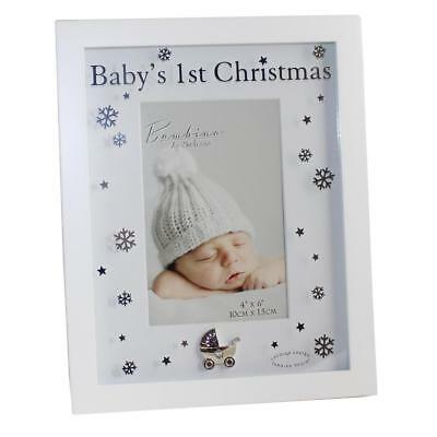 """Baby's 1st Christmas"" Bambino Unisex White Photo Frame - CG1100"