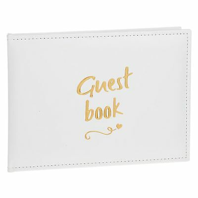 White Guest Book with Gold Script - Wedding / Anniversary / Birthday
