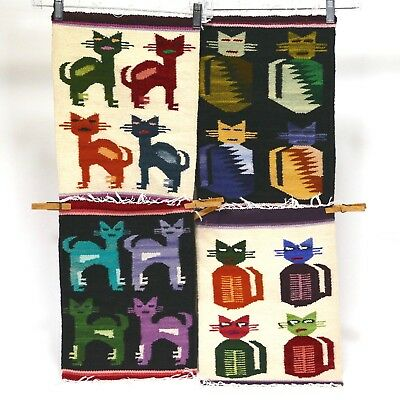 Peru Weaving CAT Fringed Placemat Set of 4 Different Wool Reversible