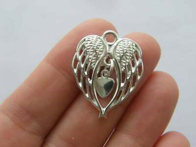 4 Angel wing heart charms silver plated tone AW74