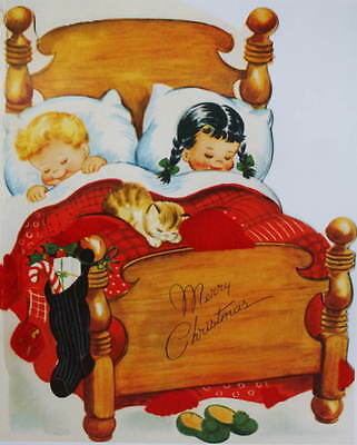 Children Sleeping vintage Christmas art