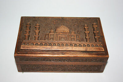 Antique Oriental Indian Wooden Carved Box