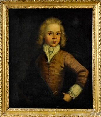A Very Fine Large Early 18Th Century Oil On Canvas Portrait Of A Young Man