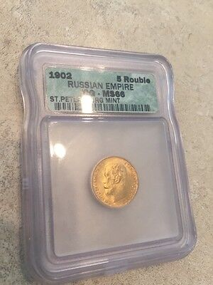 1902 Russian Empire 5 Rouble GOLD ICG MS 66 Free Ship USA (x00785)