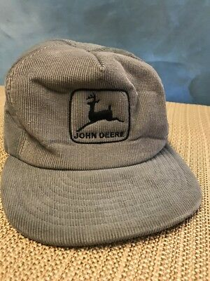 USA Made  JOHN DEERE BASEBALL CAP HAT, Gray CORDUROY TRUCKER VINTAGE Full Foam