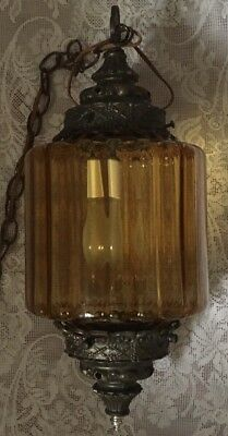 Vintage Mid Century Decorative Amber  Swag Hanging Lamp Light