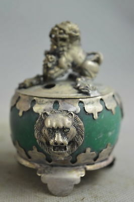 Collectable Handwork Old Agate Armor Miao Silver Carve Lion Lucky Incense Burner