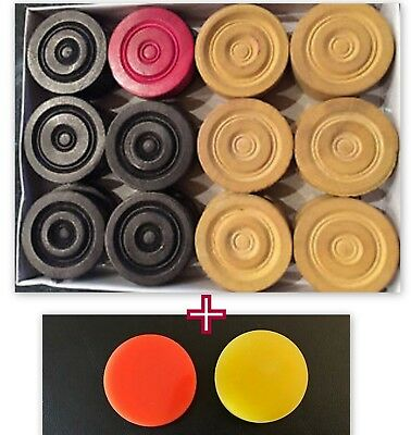24 Rosewood India Carrom Carom Board Coins Men Piece Plus Free 2 Plastic Striker