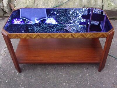 Art Deco Blue Mirror Coffee Table
