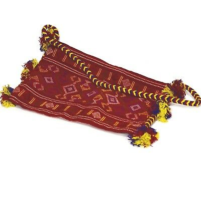 VTG Indian Peru Bolivia Textile WOOL Hand-Woven/Emb/Sewn Purse/Tote Red Weaving