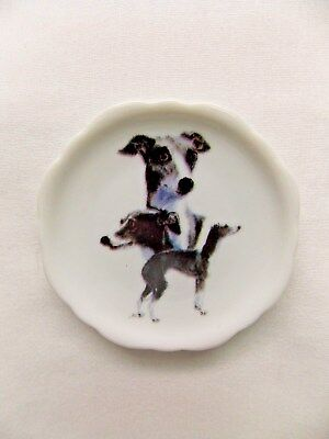 Italian Greyhound Dog 3 View Porcelain White Plate 2 1/2 In Magnet on BackWh