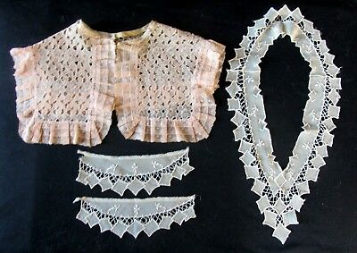 Antique Embroidered Silk Collar & Cuffs & Large Peach Lace Trimmed Collar