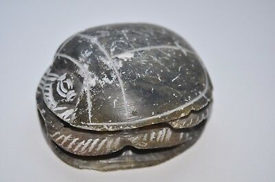 Vintage Olive Green Carved Stone Scarab Ancient Egyptian Beetle Amulet Hierogl.