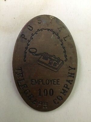 Rare Vintage POSTAL TELEGRAPH COMPANY EMPLOYEE 100 BRASS BADGE VERY COOL WOW