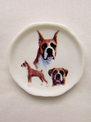 Boxer Cropped Dog 3 View Porcelain White Plate 2 1/2 In Magnet on Back