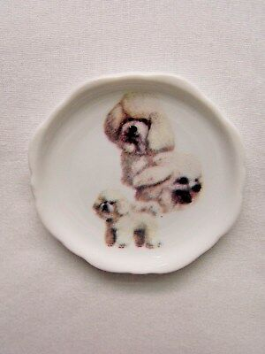 Bichon Frise Dog 3 View Porcelain White Plate 2 1/2 In Magnet on Back
