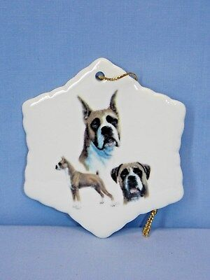 Boxer Dog Cropped 3 View Snowflake Porcelain Christmas Tree Ornament-L