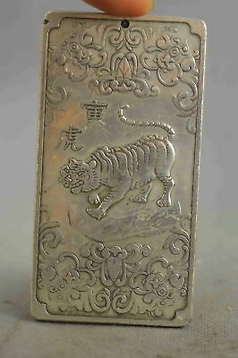 Chinese Collectable Handwork Old Miao Silver Carve Tiger & Bat Souvenir Pendant