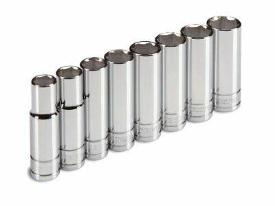 TEKTON 1260 1/2` Drive Deep Socket Set, 13-22mm, Metric, Cr-V, 8 Sockets 1260