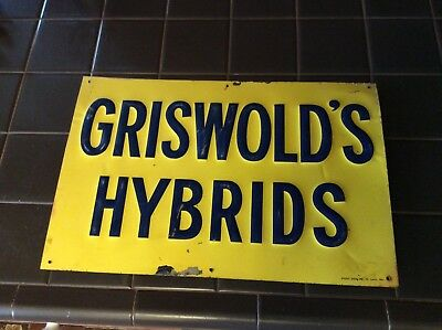 Rare Single  Sided Griswold's Hybrid Seed Corn Sign