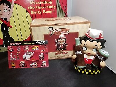 Vandor Betty Boop Soda Jerk Coca-Cola Shakers- NIB - #11330 retired 2000 coke