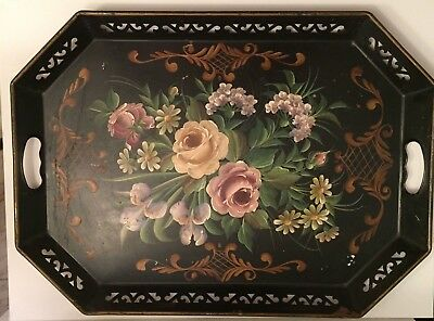 """VINTAGE Large Black Tole Toleware Hand Painted Floral Metal Tray_23""""_Table Tray"""