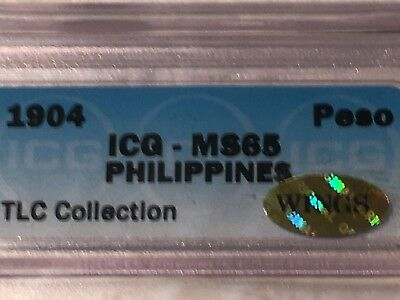 """Philippines 1904 (P) Peso ICG MS 65 GEM """"WINGS"""" Approved  GOLD Sticker Super"""
