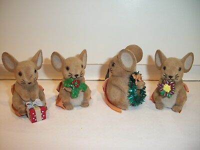 """Lot of 4 Vintage Flocked Fuzzy Christmas Mice George Good Miniature 2""""~Hong Kong"""