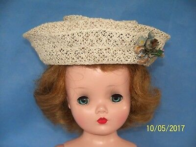 "VINTAGE 50s Madame Alexander 20"" Cissy doll Hat Off White Horsehair/Straw"