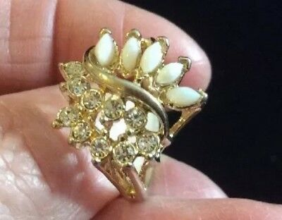 Vintage Costume Cocktail Goldtone White Opal Cubic Zirconia Ring Size 6