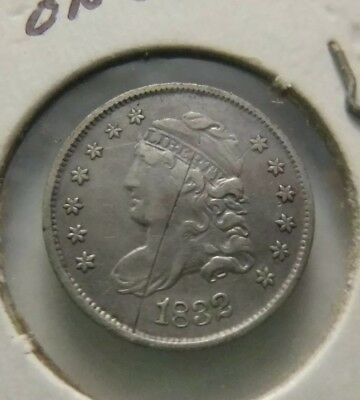1832 Capped Bust 5c HALF DIME, F/VF - beautiful- Scratch on Obverse
