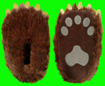 """Brown Adult Bear Paw Slippers """"Homer"""" Style With Claws Shoe Size W-4 - M-9 1/2"""