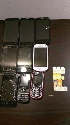 Lot of 9 as is Cellphones/Smartphones & 12 sim cards Scrap Gold Recovery