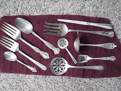 Mixed Lot Silverplate Serving Pieces Different Makers Ornate Silver Church Craft