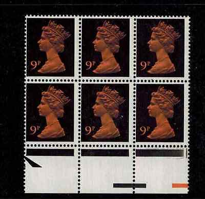 BLOCK OF 9 STAMPS U 173 PVAD 9p BROAD BAND error mistake BLOCK 6 CAT x882 £150.+