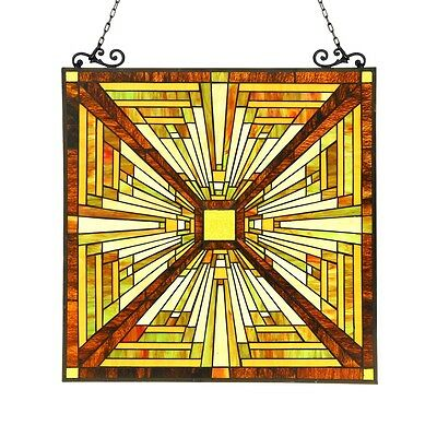 PAIR  Tiffany Style Stained Glass Window Panel Mission Arts & Crafts 24.4 x 25.6