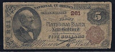 1882 $5 Brown Back - FNB New Bedford, Massachusetts Raw Ungraded Note
