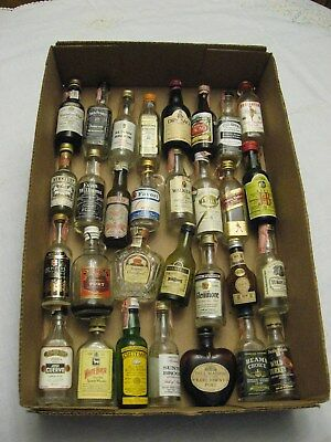 HUGE Lot of 30 Vintage Miniature Glass Liquor Bottles Whiskey and Others!