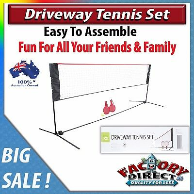 NEW! Driveway Tennis Set Outdoor Kids Adults Fun easy Assembly Net Racket Ball!