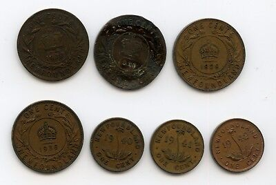 Weeda Newfoundland 1873-1942 large & small cents, lovely lot of 7, see scans