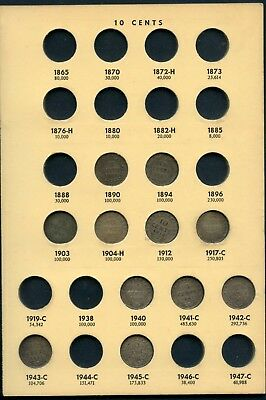 Weeda Newfoundland 1890-1945 silver 10 cents collection in page, see scans