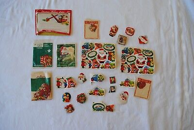 Lot of Vintage Christmas Stickers 60+ Die-Cut & Flocked, 1950s & 1960s