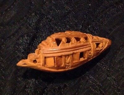 Antique Vintage Chinese Carved Hedaio Nut Boat With Shutters