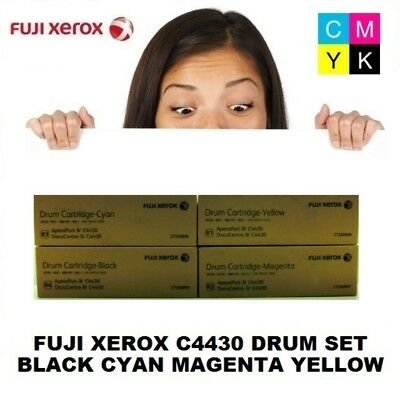 Genuine Fuji Xerox IV C4430 Imaging Drum Set Black Cyan Magenta Yellow