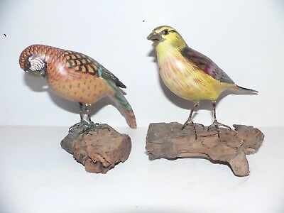 """2 Each Nice Vintage Hand Carved and Painted Birds  on Wood Perch Approx. 5"""""""